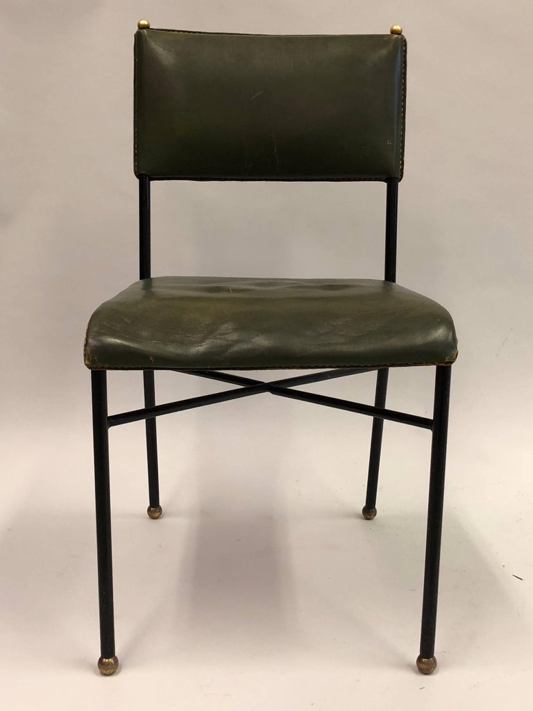 French Mid-Century Modern Hand-Stitched Leather Desk/Side Chair, Jacques Adnet For Sale 1