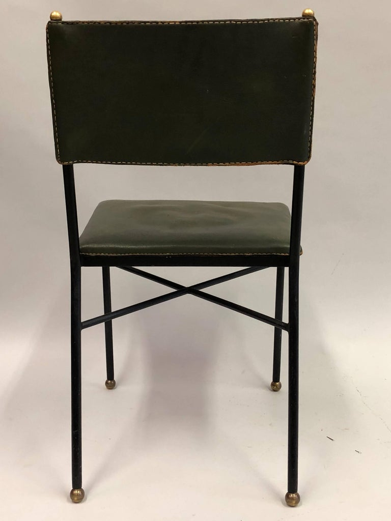 French Mid-Century Modern Hand-Stitched Leather Desk/Side Chair, Jacques Adnet For Sale 2