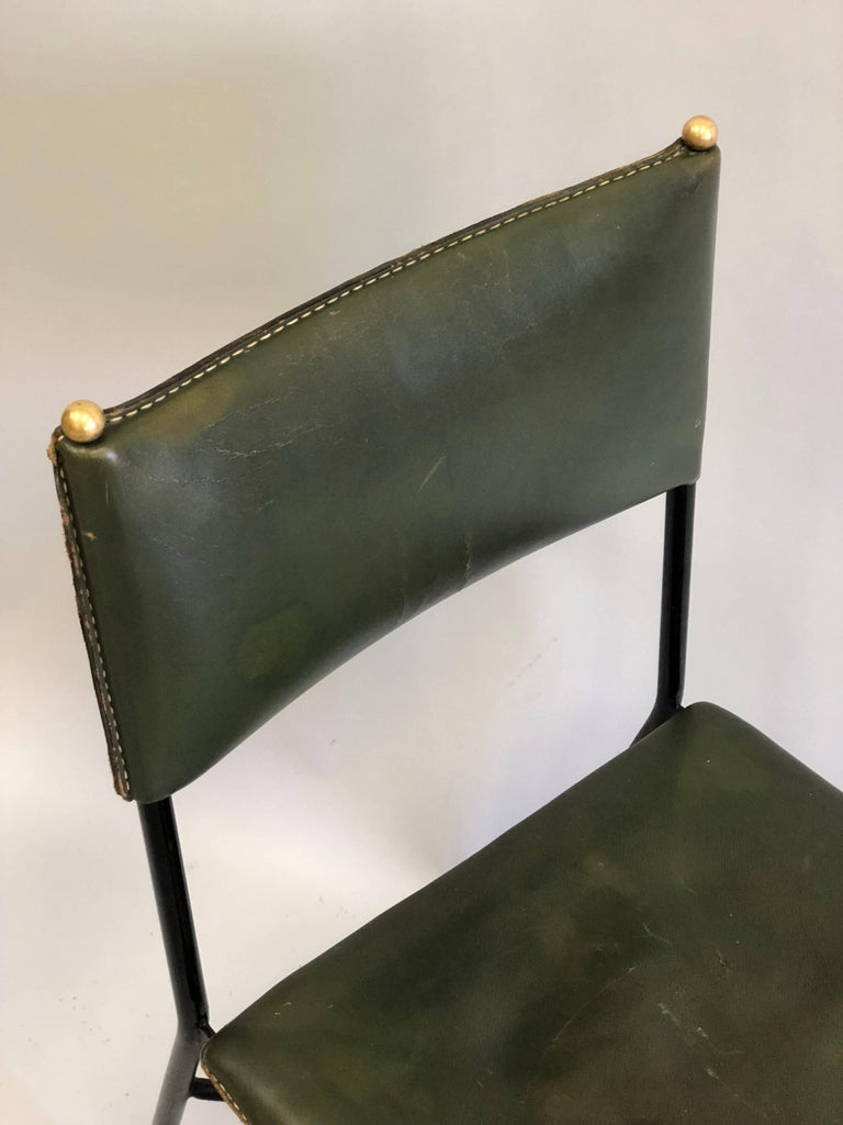 French Mid-Century Modern Hand-Stitched Leather Desk/Side Chair, Jacques Adnet For Sale 6