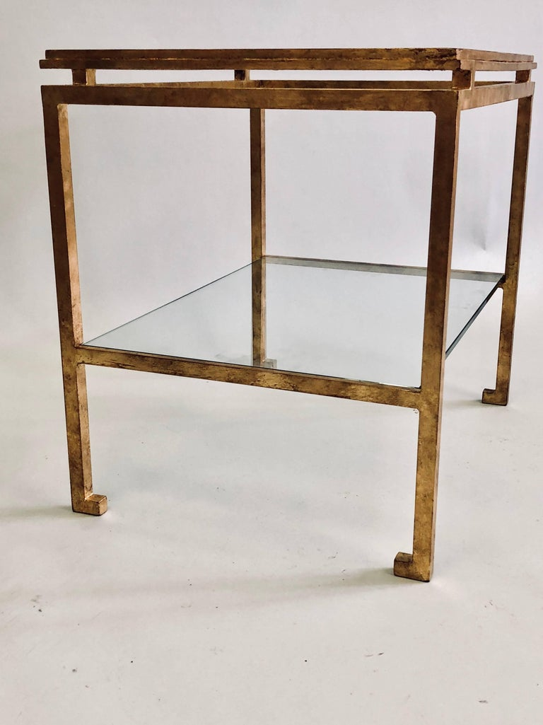 Pair of French Mid-Century Modern Gilt Iron Side / End Tables by Maison Ramsay In Good Condition For Sale In New York, NY