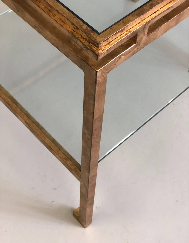 Pair of French Mid-Century Modern Gilt Iron Side / End Tables by Maison Ramsay For Sale 1