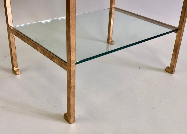 Pair of French Mid-Century Modern Gilt Iron Side / End Tables by Maison Ramsay For Sale 4