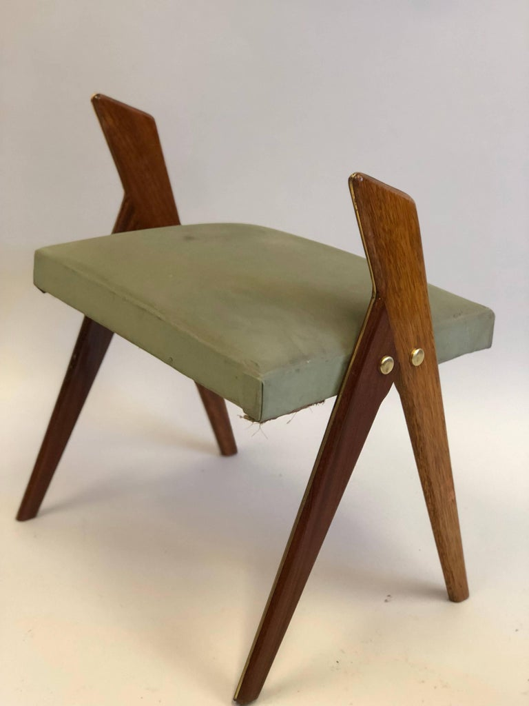 Pair of Italian Mid-Century Modern Benches or Stools, Osvaldo Borsani Attributed For Sale 1
