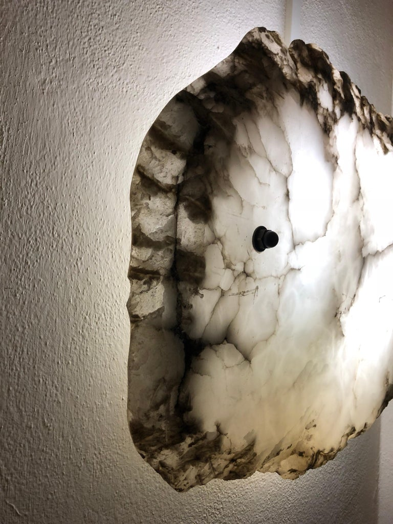 Contemporary Pair of Large Custom Italian Alabaster Wall Lights / Sconces / Flush Mounts For Sale
