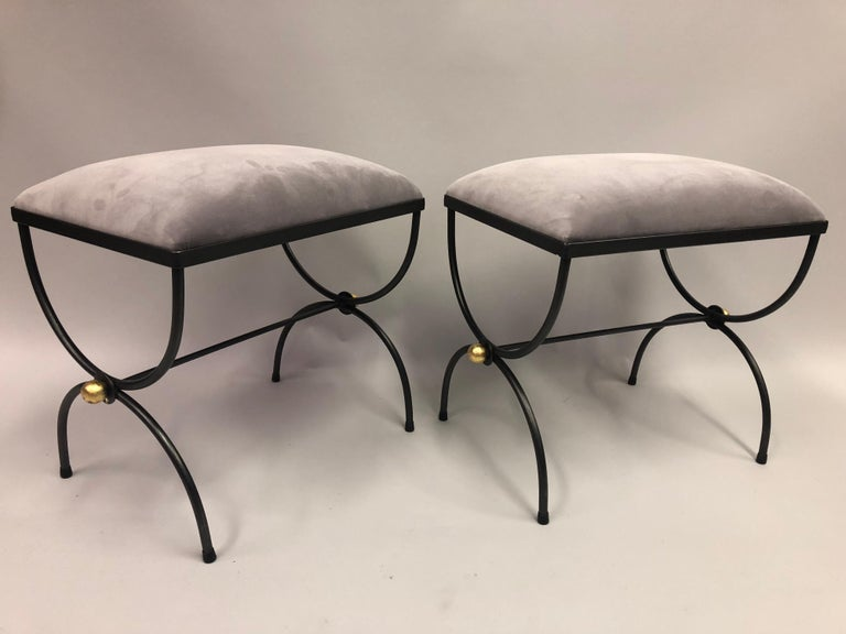 French Pair of Mid-Century Modern Neoclassical Wrought Iron and Gilt Benches or Stools For Sale