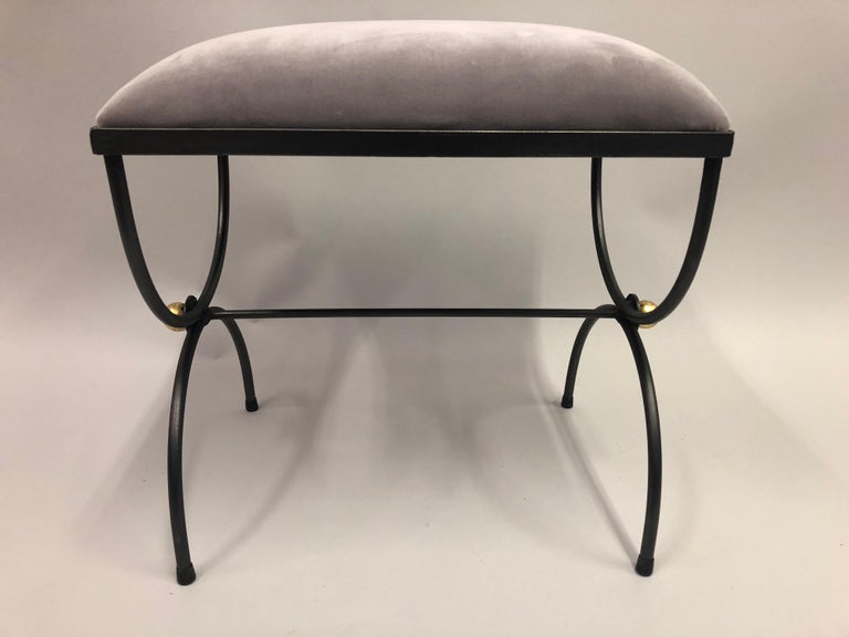 Pair of Mid-Century Modern Neoclassical Wrought Iron and Gilt Benches or Stools For Sale 1