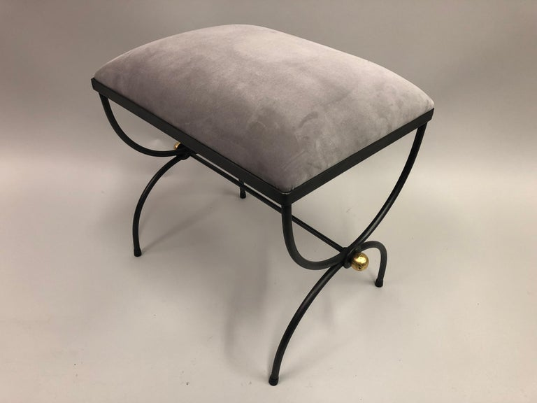 Mid-20th Century Pair of Mid-Century Modern Neoclassical Wrought Iron and Gilt Benches or Stools For Sale