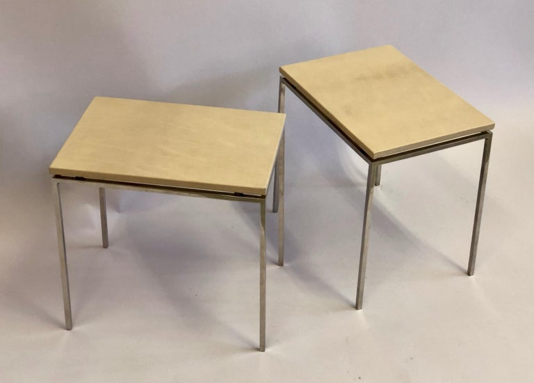 French Midcentury Nickel & Parchment Leather Side Tables Ramsay Attributed, Pair In Good Condition For Sale In New York, NY
