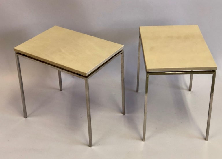 French Midcentury Nickel & Parchment Leather Side Tables Ramsay Attributed, Pair For Sale 1