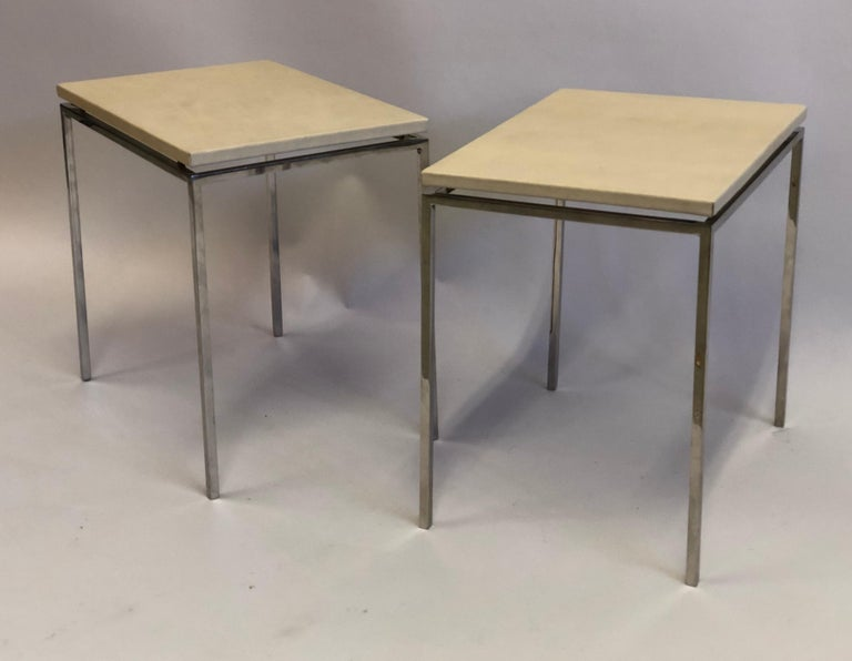 Mid-Century Modern French Midcentury Nickel & Parchment Leather Side Tables Ramsay Attributed, Pair For Sale