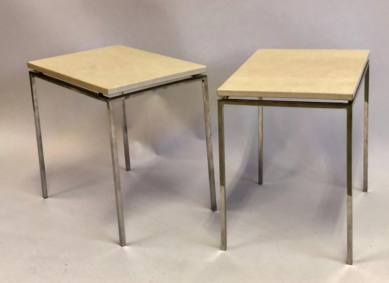 20th Century French Midcentury Nickel & Parchment Leather Side Tables Ramsay Attributed, Pair For Sale