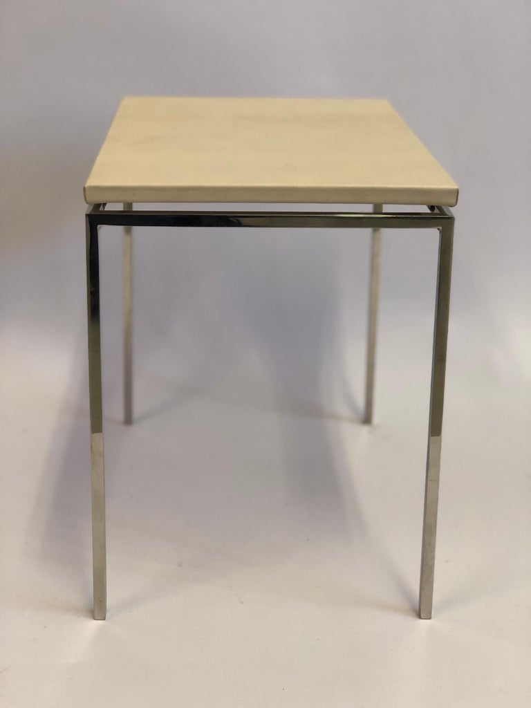 French Midcentury Nickel & Parchment Leather Side Tables Ramsay Attributed, Pair For Sale 2