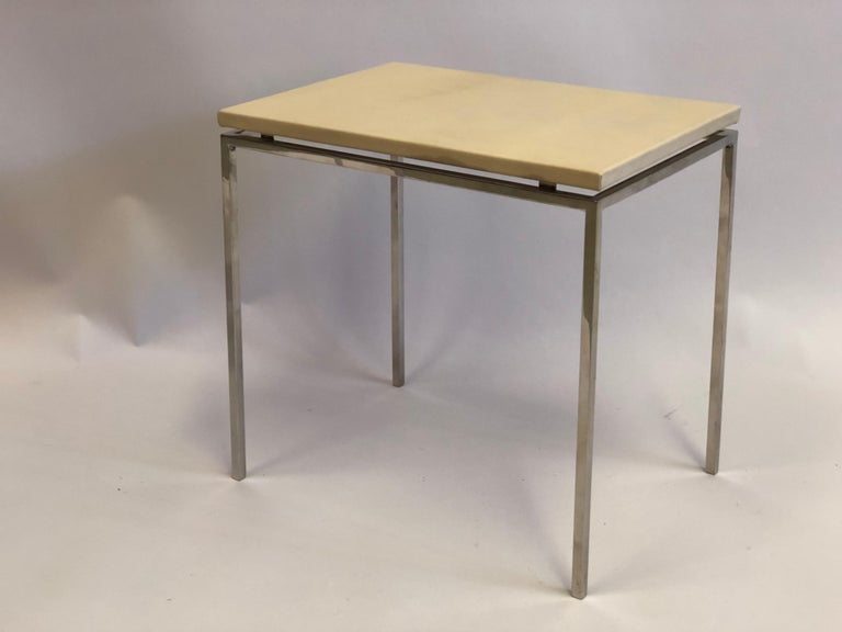 French Midcentury Nickel & Parchment Leather Side Tables Ramsay Attributed, Pair For Sale 3