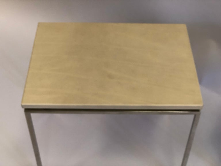 French Midcentury Nickel & Parchment Leather Side Tables Ramsay Attributed, Pair For Sale 5