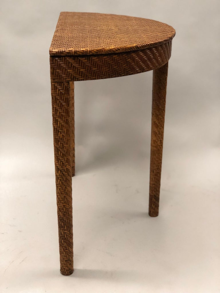 Italian Mid-Century Modern Rattan and Wicker Console or Sofa Table For Sale 1