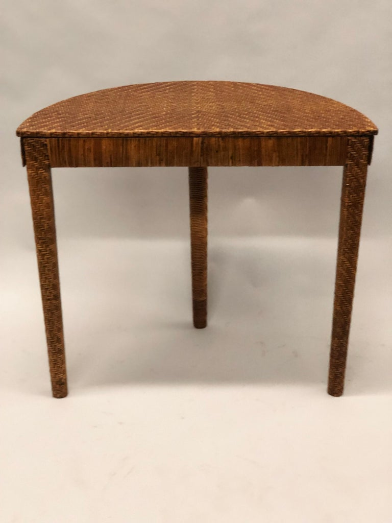 Italian Mid-Century Modern Rattan and Wicker Console or Sofa Table For Sale 2