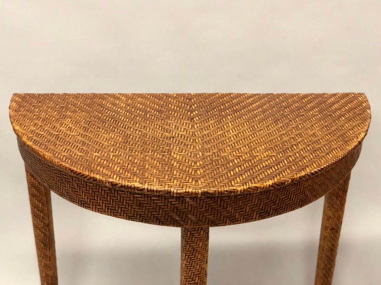 Italian Mid-Century Modern Rattan and Wicker Console or Sofa Table For Sale 3