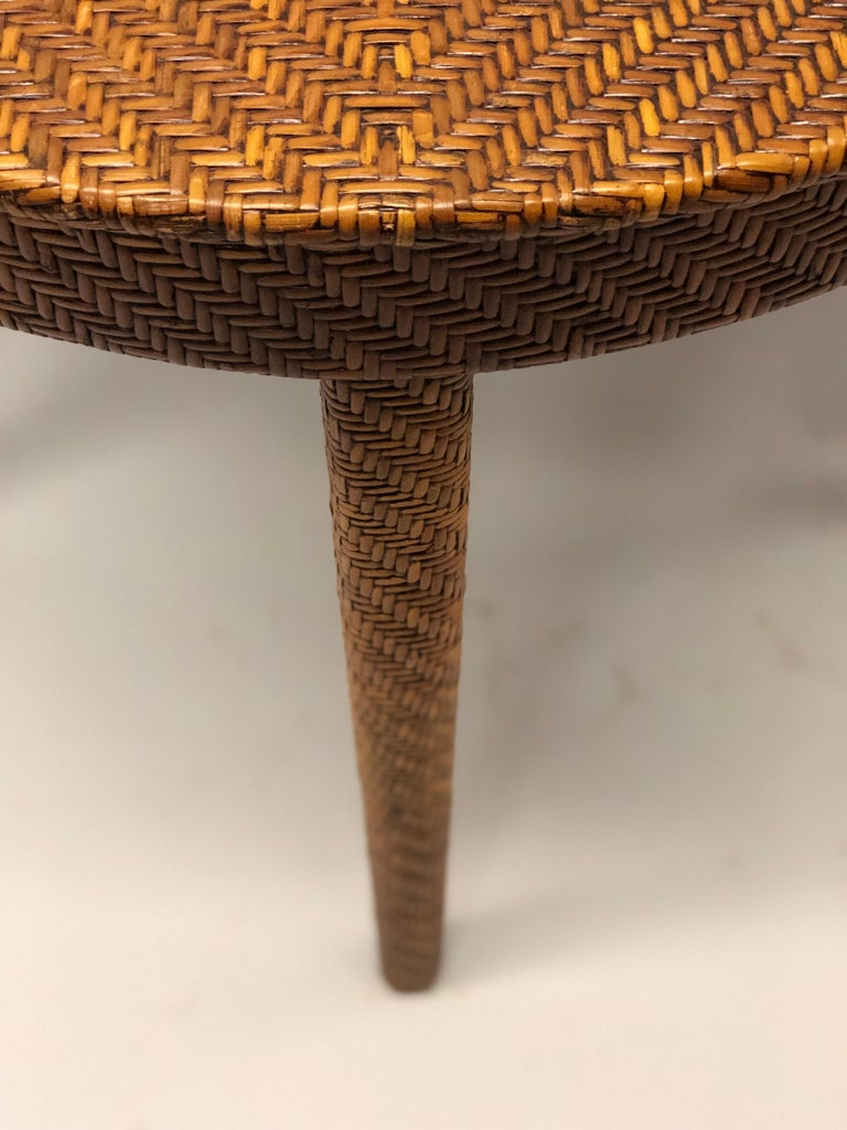 Italian Mid-Century Modern Rattan and Wicker Console or Sofa Table For Sale 4