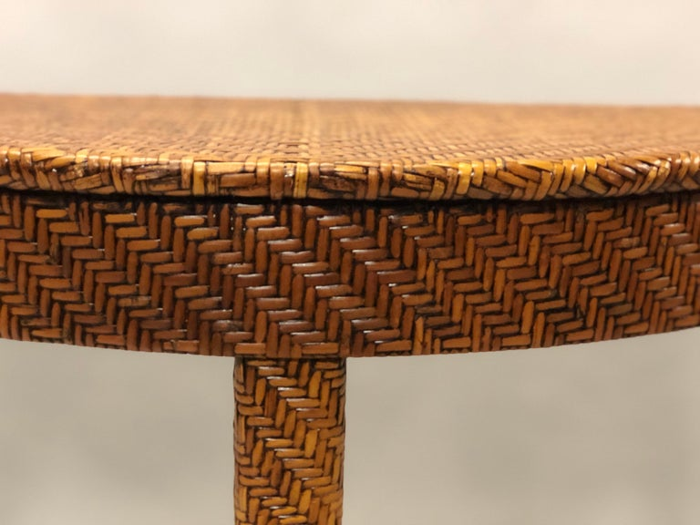 Italian Mid-Century Modern Rattan and Wicker Console or Sofa Table For Sale 5