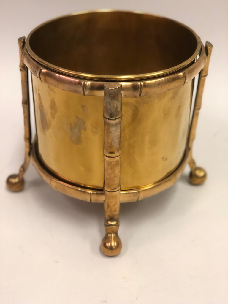 Mid-Century Modern French Modern Neoclassical Bronze Faux Bamboo Waste Basket by Maison Baguès For Sale