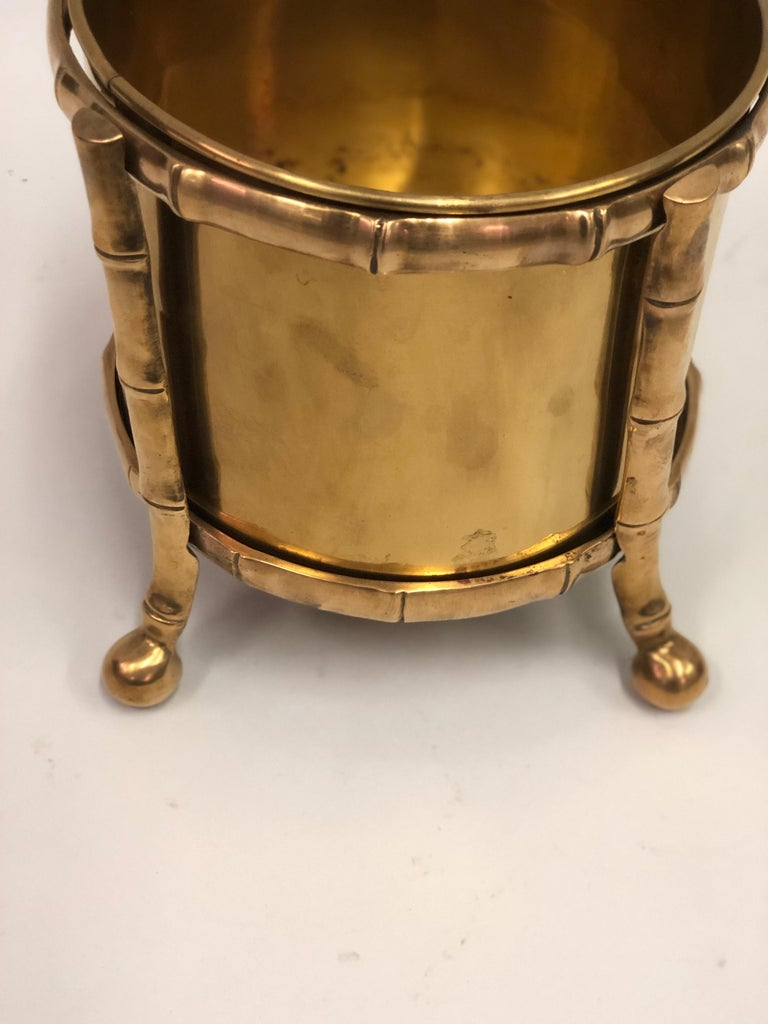 20th Century French Modern Neoclassical Bronze Faux Bamboo Waste Basket by Maison Baguès For Sale