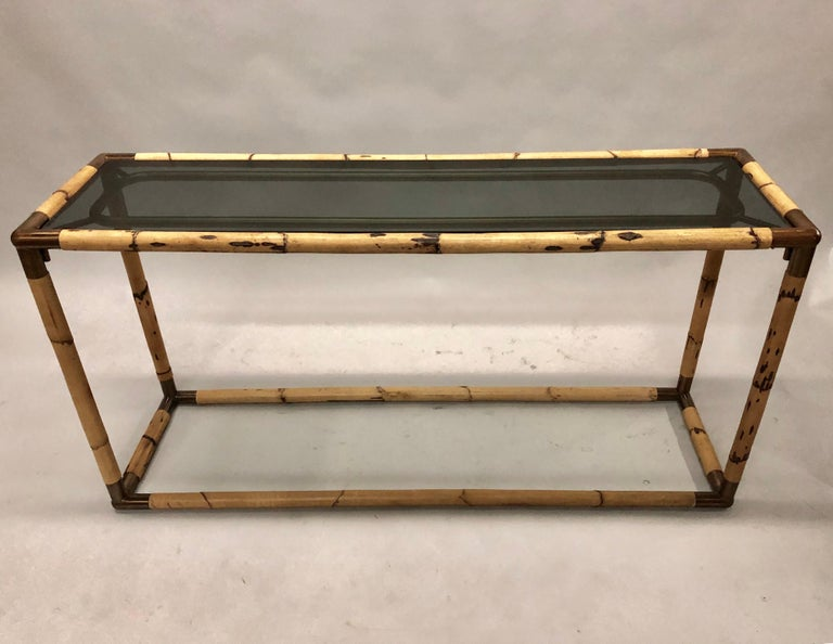 Mid-Century Modern 2 Italian Midcentury Bamboo / Rattan and Glass Consoles or Sofa Tables by Banci For Sale