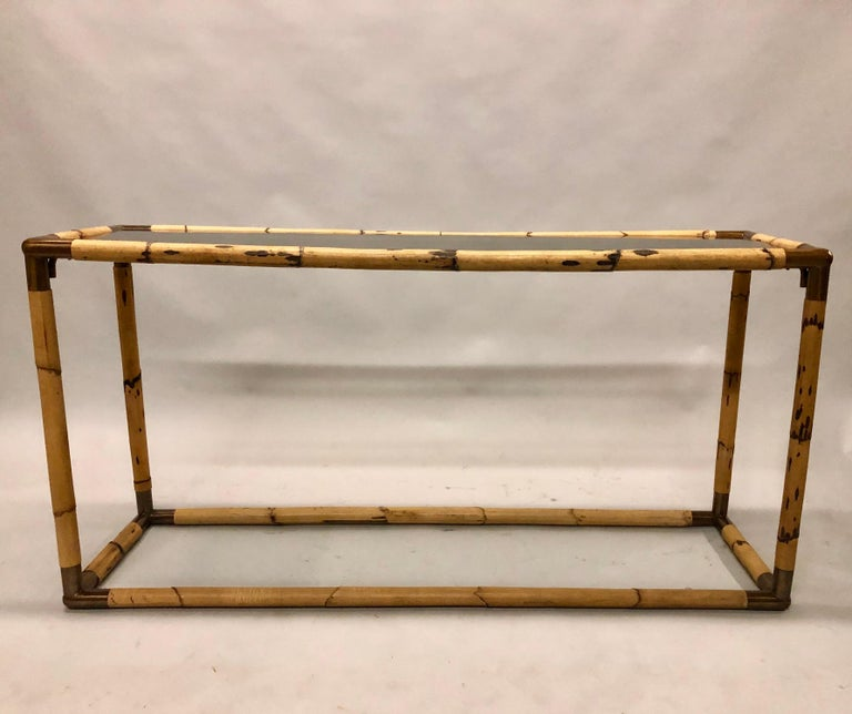 2 Italian Midcentury Bamboo / Rattan and Glass Consoles or Sofa Tables by Banci In Good Condition For Sale In New York, NY