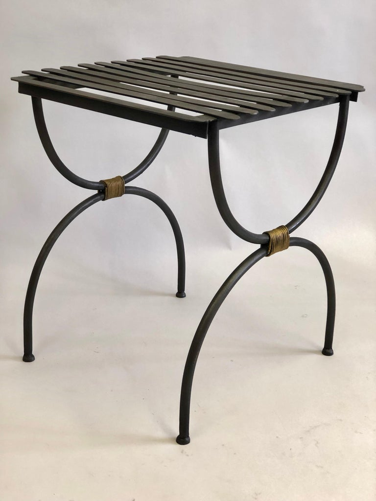 Mid-Century Modern Pair French Modern Neoclassical Iron Benches / Luggage Racks, Jean Michel Frank For Sale
