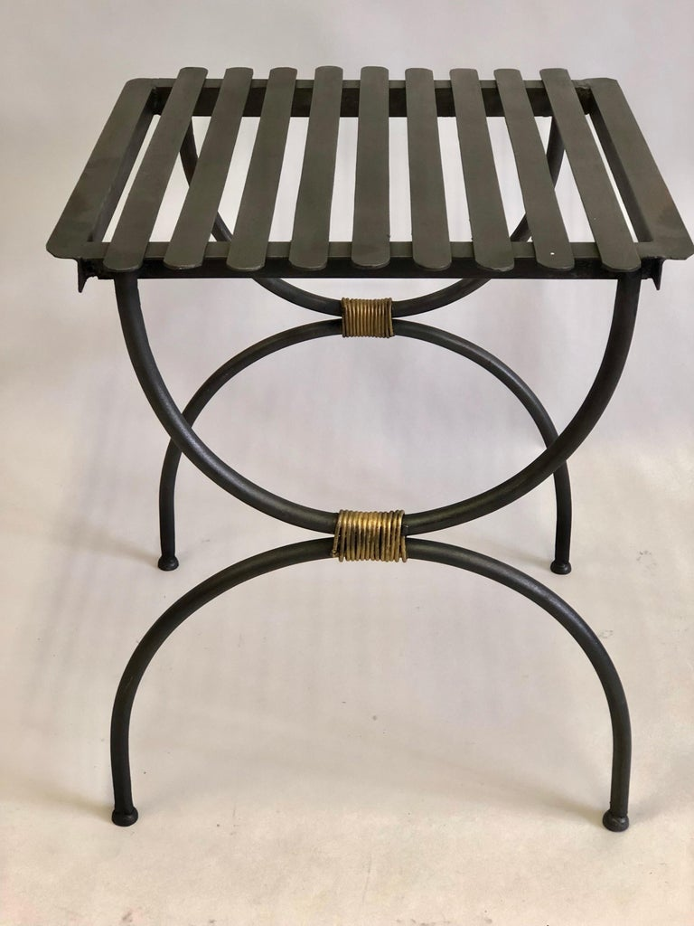 20th Century Pair French Modern Neoclassical Iron Benches / Luggage Racks, Jean Michel Frank For Sale