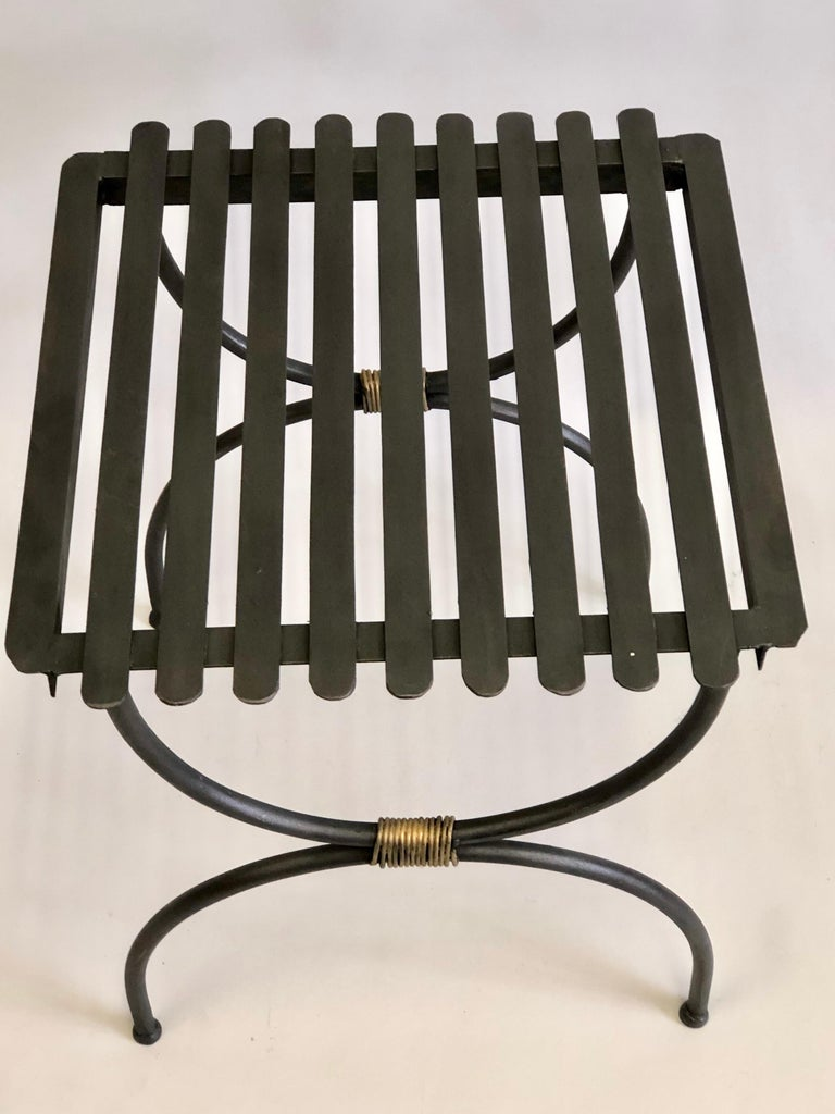 Pair French Modern Neoclassical Iron Benches / Luggage Racks, Jean Michel Frank For Sale 2