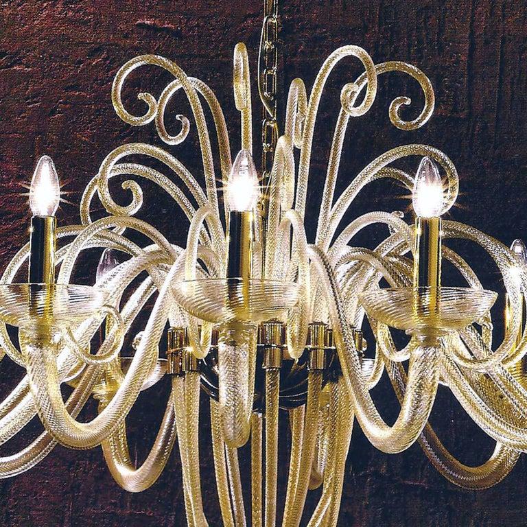 Italian Large Mid-Century Modern Style Twelve-Arm Gold Murano Glass Chandelier For Sale