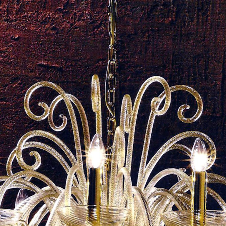 20th Century Large Mid-Century Modern Style Twelve-Arm Gold Murano Glass Chandelier For Sale