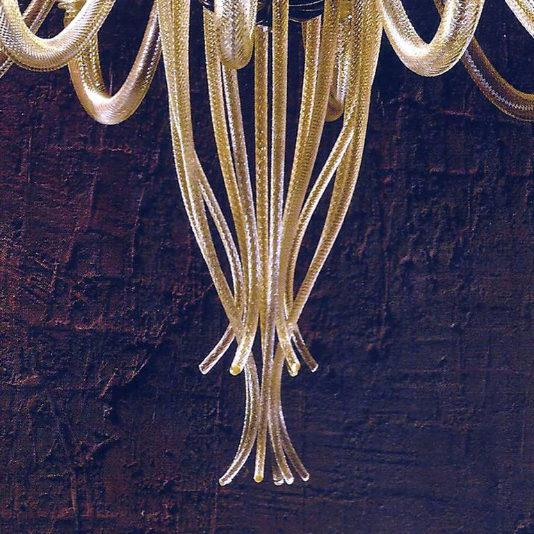 Large Mid-Century Modern Style Twelve-Arm Gold Murano Glass Chandelier For Sale 1