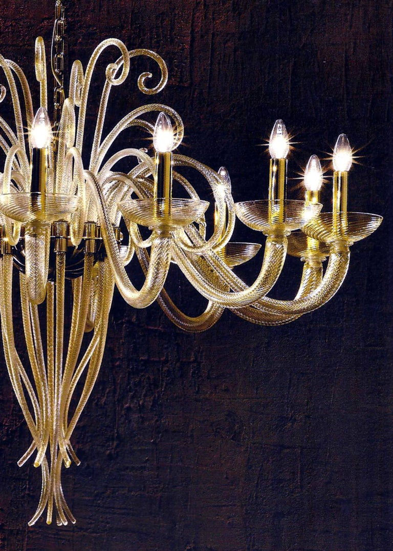 Large Mid-Century Modern Style Twelve-Arm Gold Murano Glass Chandelier For Sale 2