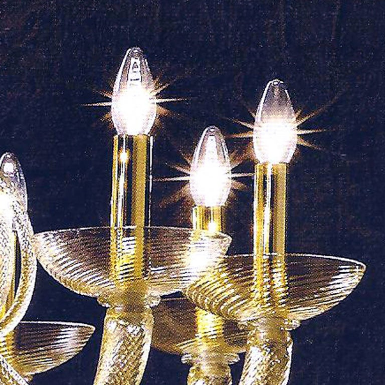 Large Mid-Century Modern Style Twelve-Arm Gold Murano Glass Chandelier For Sale 3