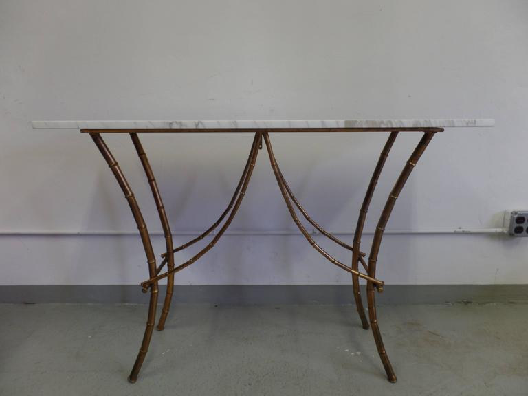 French Midcentury Gilt Iron Faux Bamboo Console by Maison Baguès 2