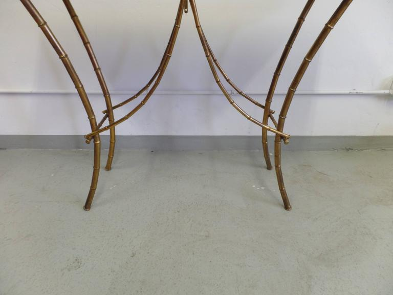 French Midcentury Gilt Iron Faux Bamboo Console by Maison Baguès 4