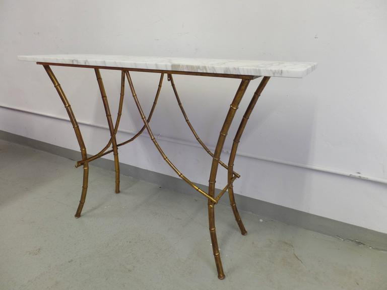 French Midcentury Gilt Iron Faux Bamboo Console by Maison Baguès 3