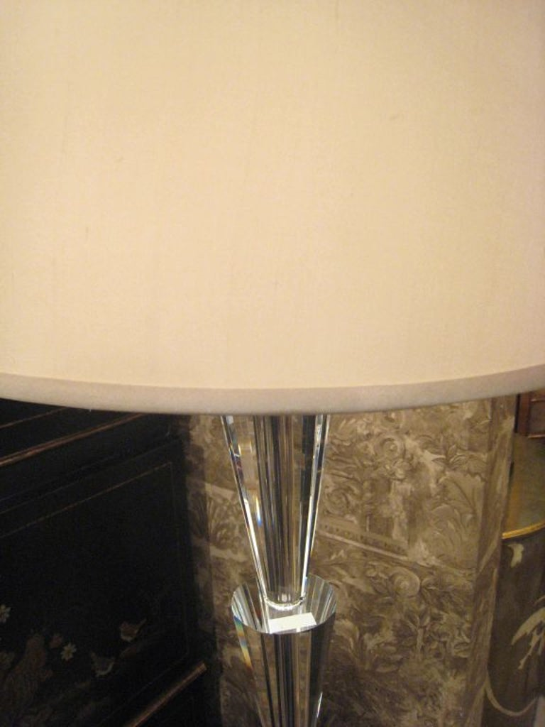 20th Century Pair of Italian Modern Neoclassical Style, Crystal Floor Lamps, Fontana Arte For Sale