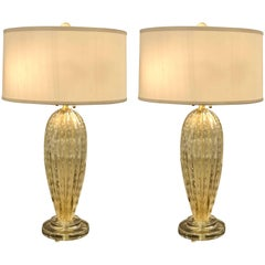 Italian Midcentury Style Clear & Gold Murano / Venetian Glass Table Lamps, Pair