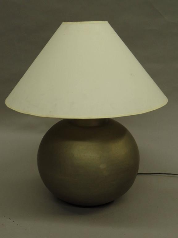 Mid-20th Century Pair of French Mid-Century Modern Hand-Hammered and Matte Nickel Table Lamps For Sale