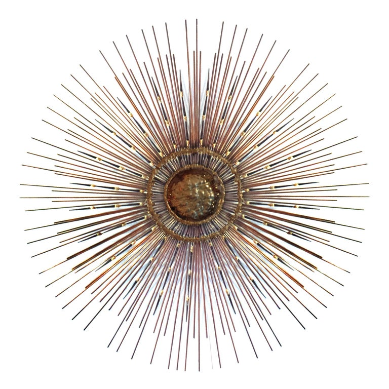 Rare Mid-Century Copper, Brass and Iron Sunburst Mirror / Wall Sculpture by Bela For Sale