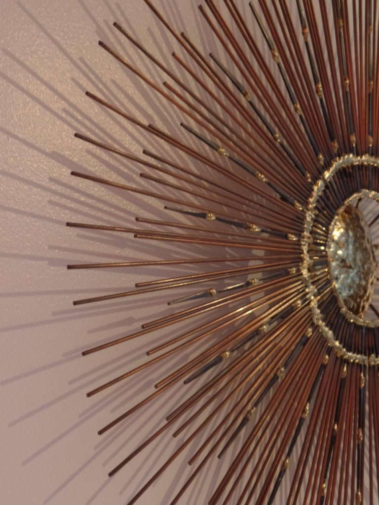 Canadian Rare Mid-Century Copper, Brass and Iron Sunburst Mirror / Wall Sculpture by Bela For Sale
