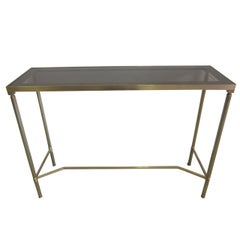 French Midcentury Brass and Reverse Painted Glass Console / Sofa Table, Baguès