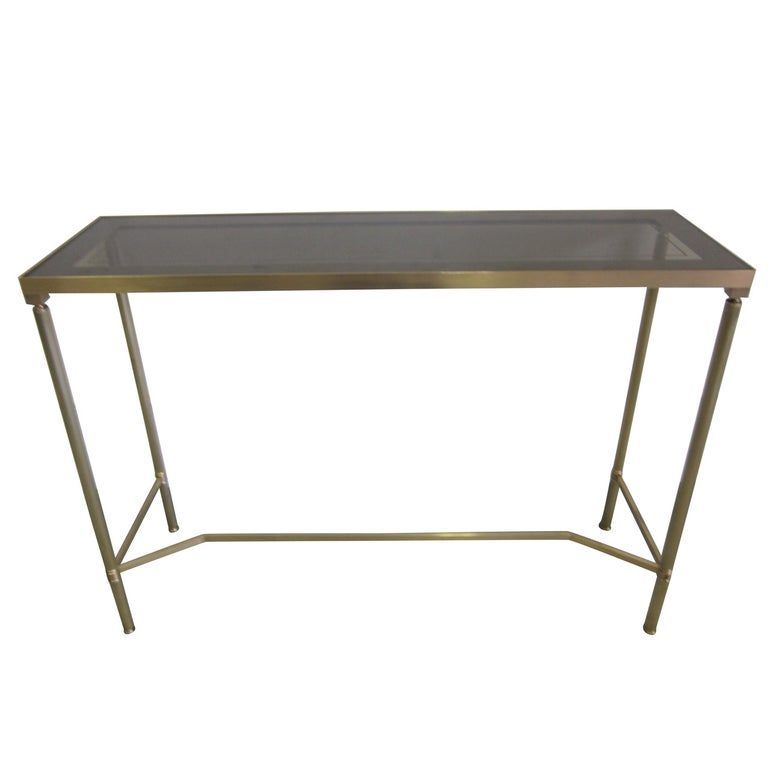 French Midcentury Brass and Reverse Painted Glass Console / Sofa Table, Baguès For Sale