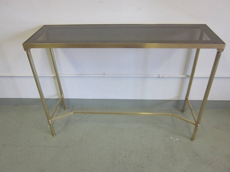 Mid-Century Modern French Midcentury Brass and Reverse Painted Glass Console / Sofa Table, Baguès For Sale