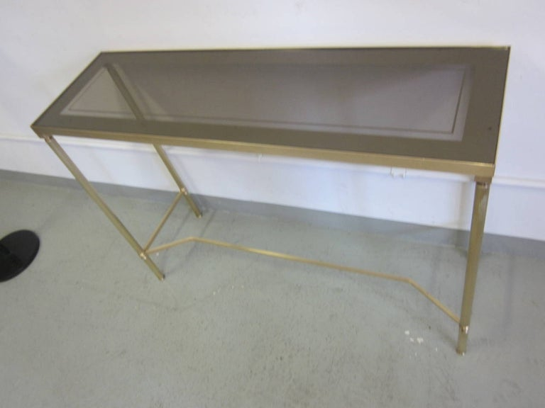 Mid-20th Century French Midcentury Brass and Reverse Painted Glass Console / Sofa Table, Baguès For Sale
