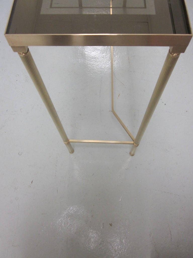 French Midcentury Brass and Reverse Painted Glass Console / Sofa Table, Baguès For Sale 1