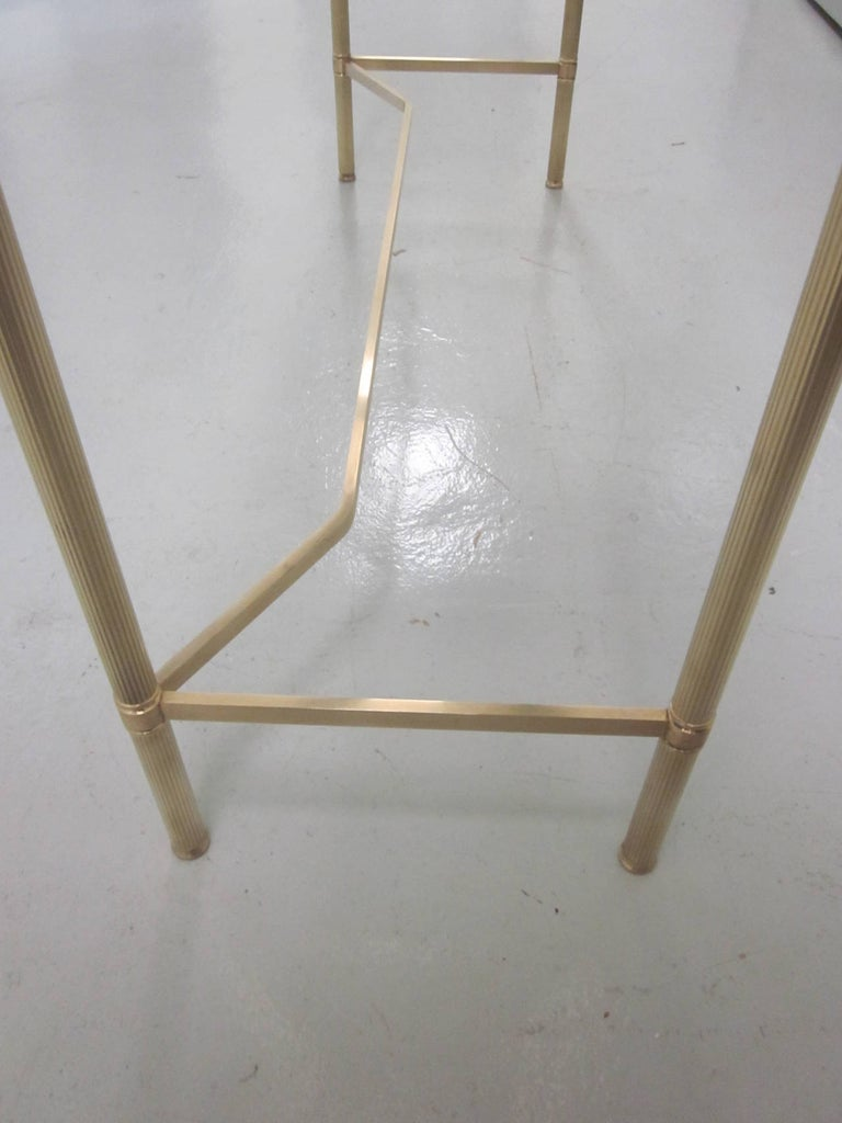 French Midcentury Brass and Reverse Painted Glass Console / Sofa Table, Baguès For Sale 2