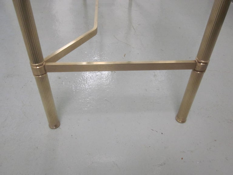 French Midcentury Brass and Reverse Painted Glass Console / Sofa Table, Baguès For Sale 3